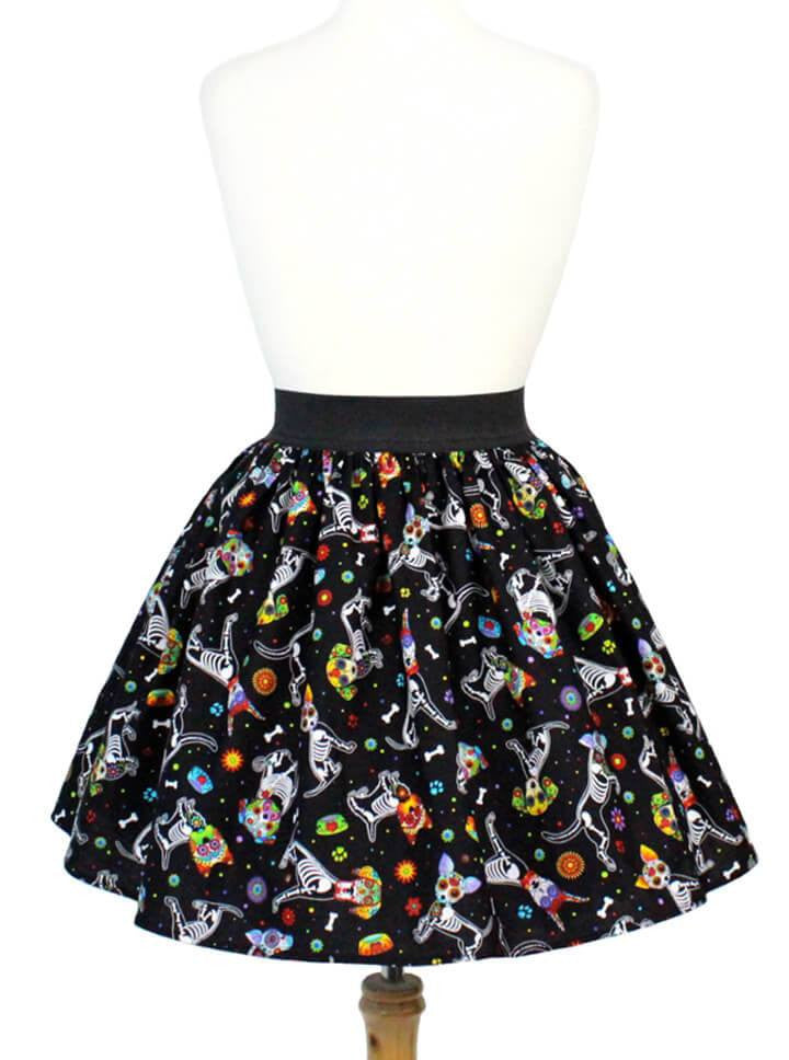 "Women's ""Day Of The Dead Dog"" Pleated Skirt by Hemet (Black) - www.inkedshop.com"