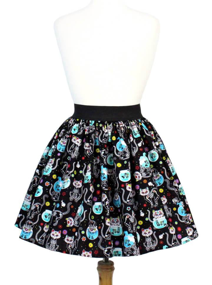 "Women's ""Day Of The Dead Kitty"" Pleated Skirt by Hemet (Black) - www.inkedshop.com"