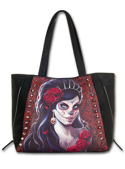 "Women's ""Day Of The Dead"" Tote Bag by Spiral USA (Black) - www.inkedshop.com"
