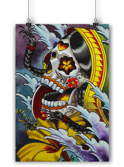 Day Of The Dead Asian Print by Marcos Villa Gran for Black Market Art