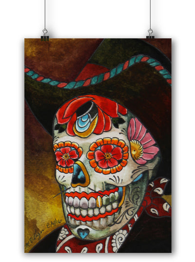 Day Of The Dead Cowboy Print by Marcos Villa Gran for Black Market Art