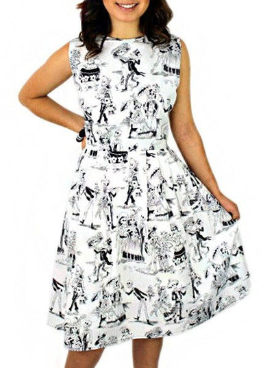 "Women's ""Day Of The Dead"" Pleated Dress by Hemet (White) - www.inkedshop.com"