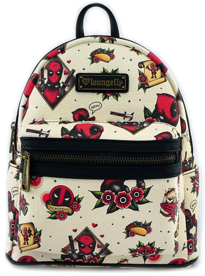 """Marvel: Deadpool"" Tattoo Flash Print Mini Faux Leather Backpack by Loungefly (Beige)"