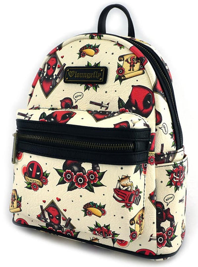 Marvel: Deadpool Tattoo Flash Print Mini Faux Leather Backpack by Loungefly