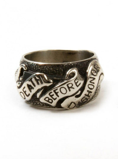 "Men's ""Death Before Dishonor"" Ring by Aileyan (More Options) - www.inkedshop.com"