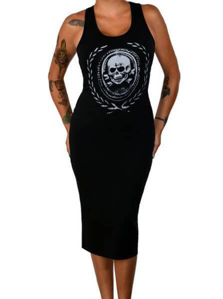 "Women's ""Death And Glory"" Fitted Tank Dress by Pinky Star (Black) - www.inkedshop.com"