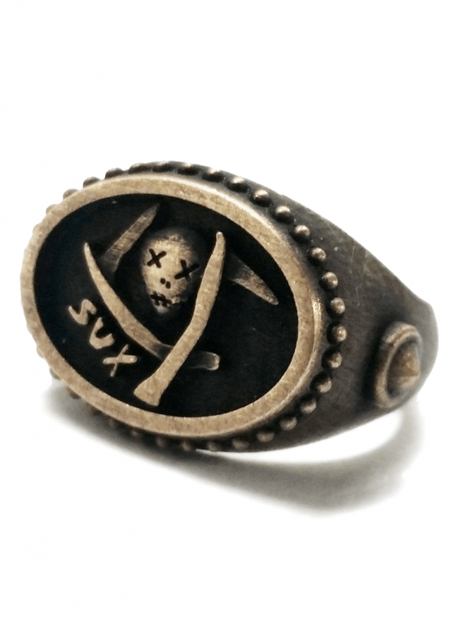 """Death Sux"" Ring by Lor G Jewellery (Brass) - www.inkedshop.com"