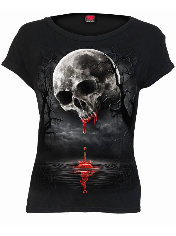 Women's Death Moon Boatneck Cap Sleeve Tee by Spiral USA
