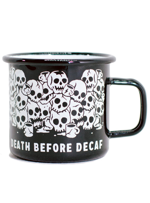 Death Before Decaf Enamel Mug by Pyknic