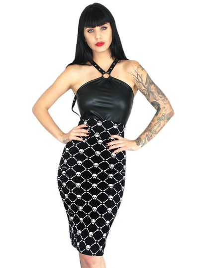 "Women's ""Skull Baby"" Slimming Pencil Skirt by Demi Loon (Black) - www.inkedshop.com"