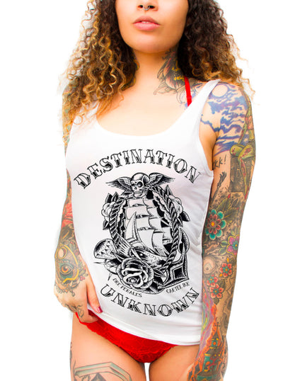 Women's Destination Unknown Racerback Tank by Cartel Ink
