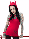 """Devil Tail"" Hooded Tunic Top by Kreepsville 666 (Red) - InkedShop - 1"
