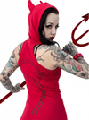 """Devil Tail"" Hooded Tunic Top by Kreepsville 666 (Red) - InkedShop - 3"