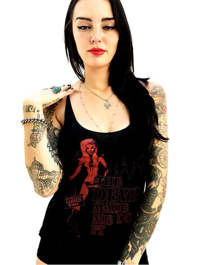 "Women's ""The Devil Made Me Do It"" Tank by Gypsy Treasures (Black)"