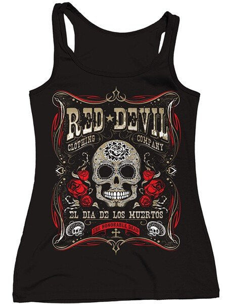 "Women's ""Dia De Los Muertos"" Tank Top by Red Devil (Black) - www.inkedshop.com"