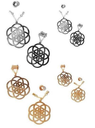 """Seed Of Life"" Sacred Geometry Magnetic Clasp Gauged Earrings by Intrepid Jewelry (More Options) - www.inkedshop.com"