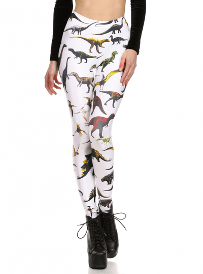 "Women's ""Dinosaur"" Leggings by Poprageous (White) - www.inkedshop.com"