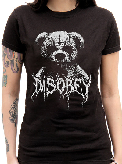 Women's Black Metal Teddy Disobey Tee Tee by The T-Shirt Whore