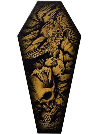 """Dragon & Skull"" Coffin Canvas by Black Market Art - www.inkedshop.com"