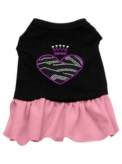 """Zebra Heart"" Dog Dress by Mirage (Black/Pink) - www.inkedshop.com"