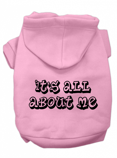 """It's All About Me"" Dog Hoodie by Mirage Pet Products (Pink) - www.inkedshop.com"