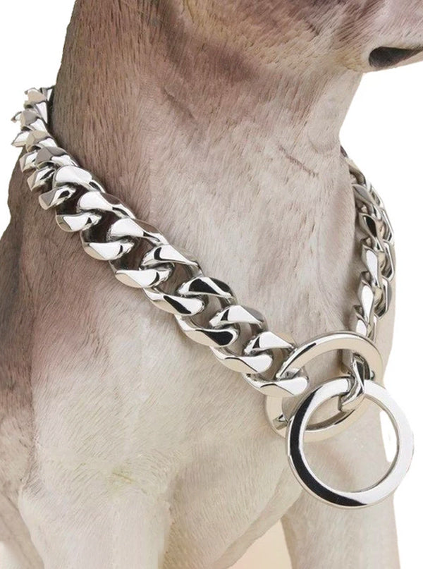 Cuban Chain Dog Collar by Silver Phantom Jewelry