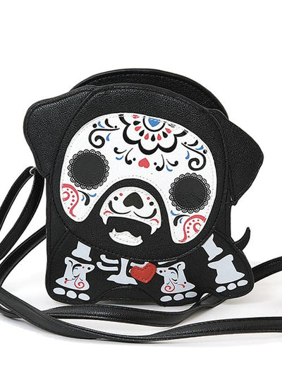 """Tattooed Skeleton Dog with a Heart"" Shoulder Crossbody Bag (Black)"