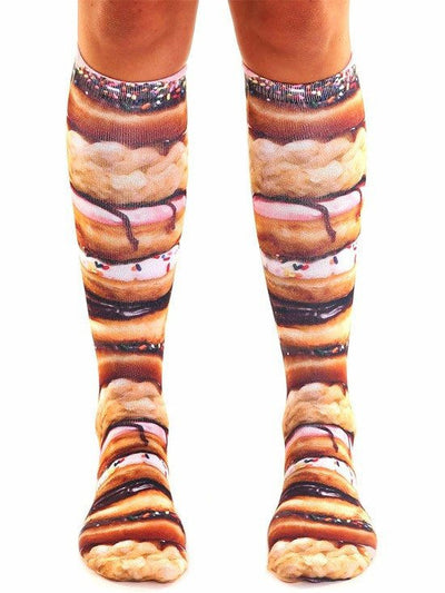"""Stacked Donuts"" Knee High Socks (Brown) - www.inkedshop.com"