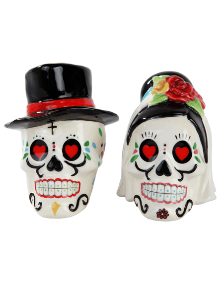 """Day Of The Dead Wedding Skulls"" Salt And Pepper Shakers by Pacific Trading (White) - www.inkedshop.com"