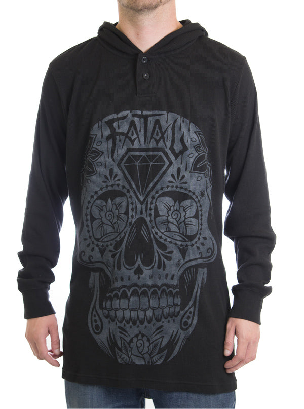 "Men's ""Day of the Dead"" Hooded Thermal by Fatal Clothing (Black)"
