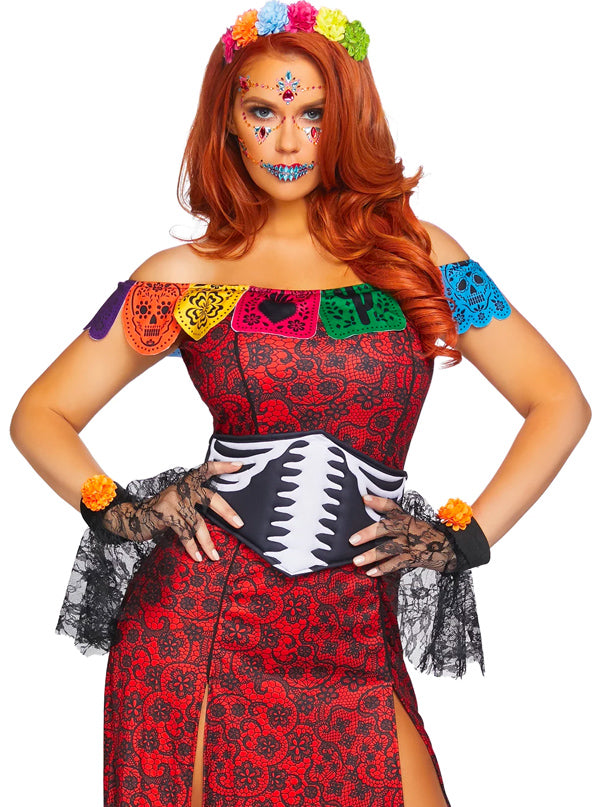 Women's Day of the Dead Beauty Costume by Leg Avenue (Red)