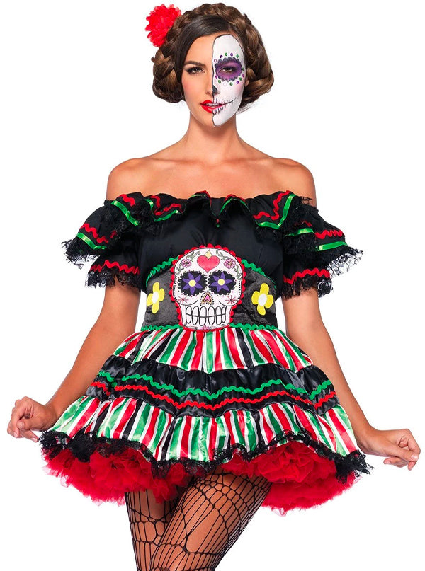 Women's Day of the Dead Doll Costume by Leg Avenue (Black)
