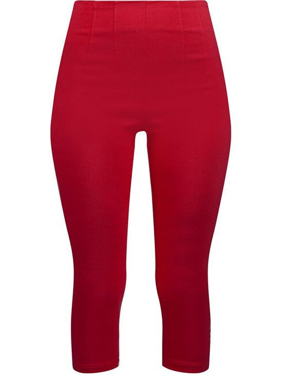"Women's ""Retro Gal"" High Waist Capris by Double Trouble Apparel (Red) - www.inkedshop.com"
