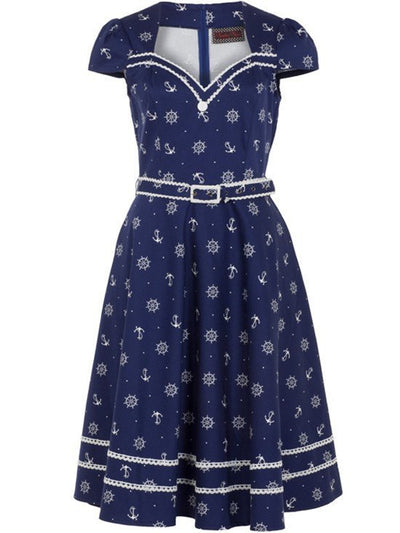 "Women's ""Nautical Print"" Flare Dress by Voodoo Vixen (Blue) - www.inkedshop.com"