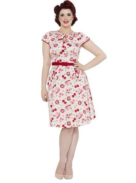 "Women's ""Cherry Basket"" Flare Dress by Voodoo Vixen (Pink) - www.inkedshop.com"