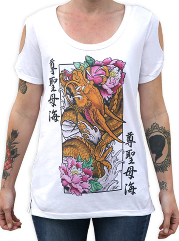 Women's Golden Dragon Open Sleeve Tee by Black Market Art
