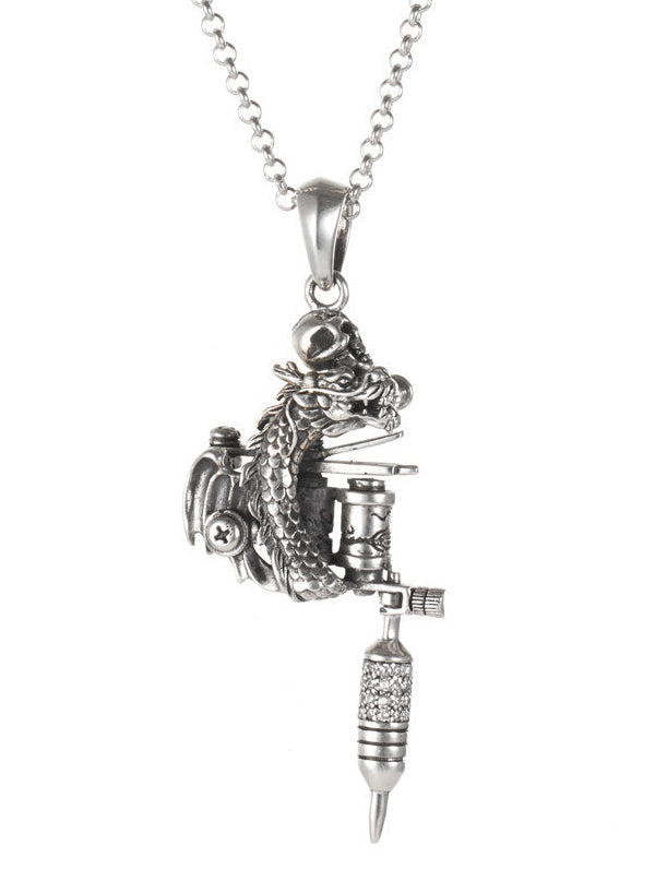 Dragon Tattoo Machine Necklace by Silver Phantom Jewelry