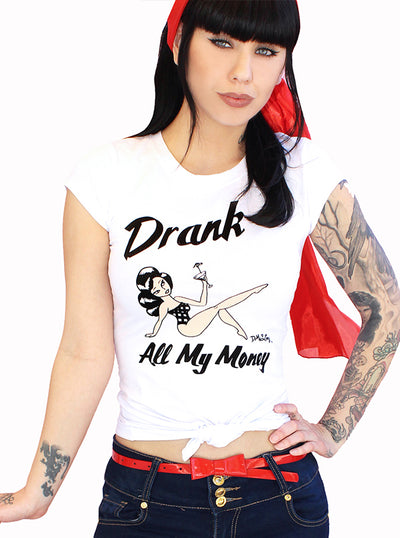 Women's Drank All My Money Pinup Tee by Demi Loon