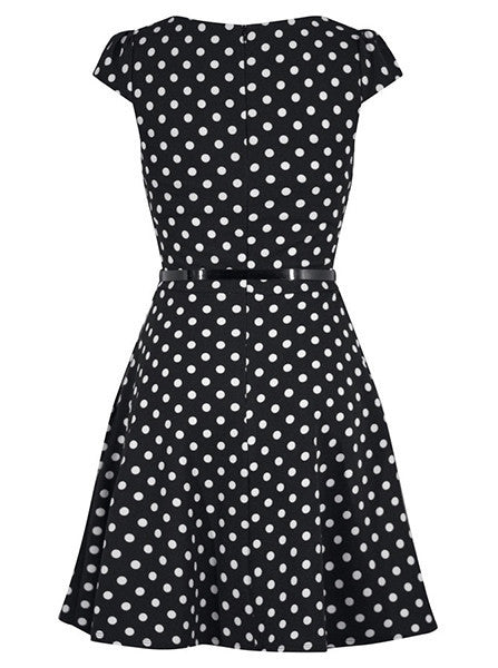 Womens Polka Dot Cap Sleeve Pinup Dress By Double Trouble Apparel