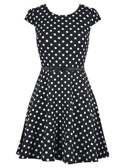 "Women's ""Polka Dot"" Cap Sleeve Pinup Dress by Double Trouble Apparel (Black)"