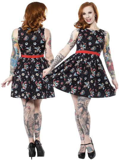 "Women's ""Birds of Paradise"" Shift Dress by Sourpuss (Black)"