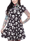 "Women's ""Lust For Skulls"" Scuba Dress by Sourpuss (Black)"