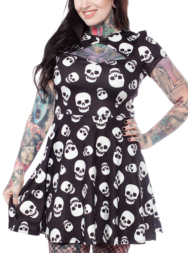 Women's Lust For Skulls Scuba Dress by Sourpuss