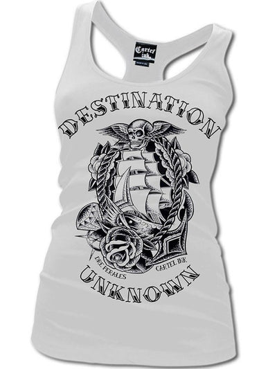 "Women's ""Destination Unknown"" Racerback Tank by Cartel Ink (White) - www.inkedshop.com"