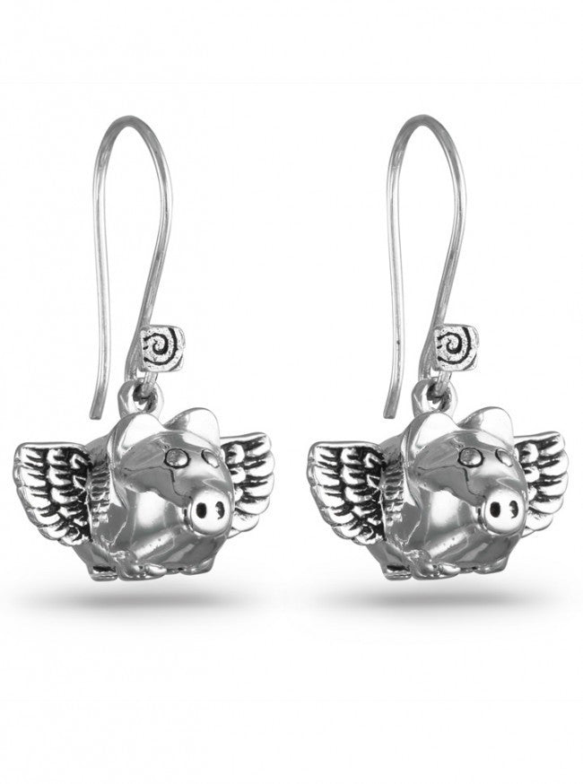 """Flying Pig"" Earrings by Lost Apostle (Antique Silver) - InkedShop - 1"