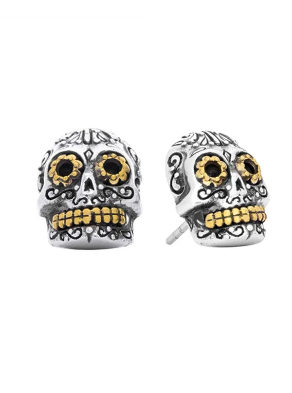 Calavera Sugar Skull Earrings by Silver Phantom Jewelry