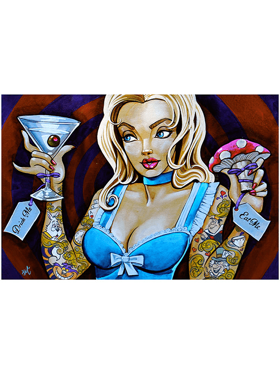 Eat Me Drink Me Print by Mike Bell for Lowbrow Art Company