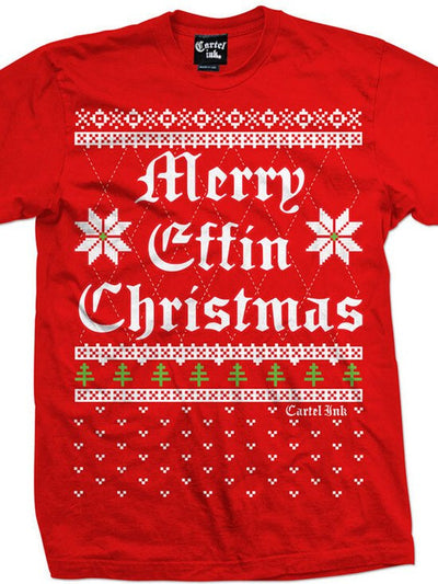"Men's ""Merry Effin Chistmas"" Ugly Sweater Tee by Cartel Ink (Red) - www.inkedshop.com"