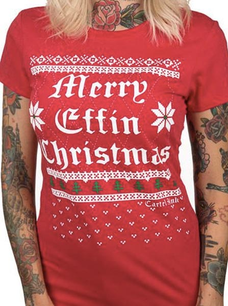 Women's Merry Effin Christmas Ugly Sweater Tee by Cartel Ink