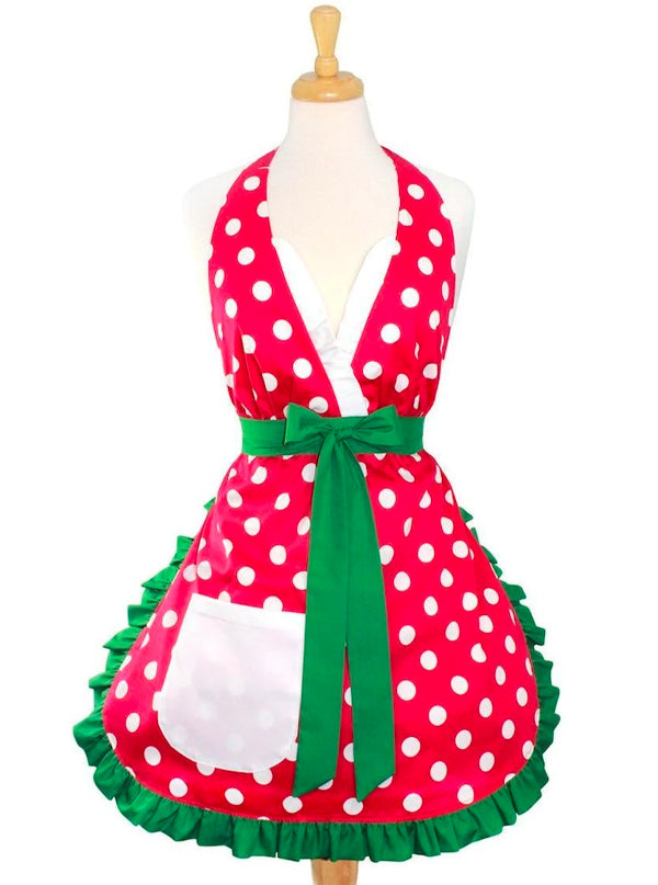 Christmas Elf Polkadot Apron by Hemet